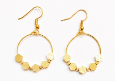 Flora Hexagon Block Bead Hoops