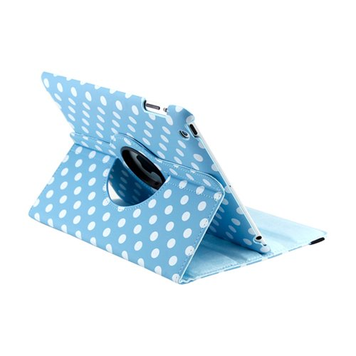 GEARONIC TM Blue White Polka Dot 360 Degree Rotating Stand Smart Cover PU Leather Swivel Case Apple iPad 4th Generation Retina Display/the iPad 3 / iPad 2 (Wake/sleep Function)