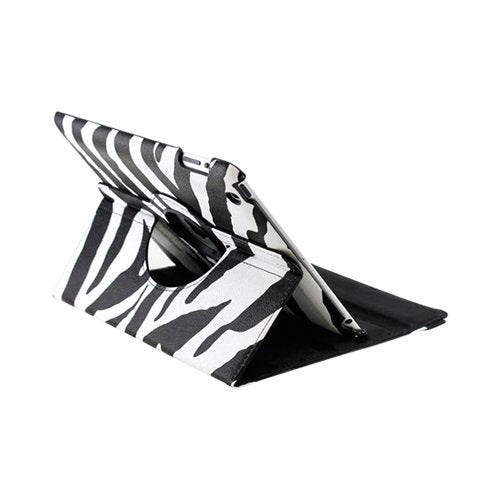 GEARONIC TM Black White Zebra Pattern 360 Degree Rotating Stand Smart Cover PU Leather Swivel Case Apple iPad 4th Generation Retina Display/the iPad 3 / iPad 2 (Wake/sleep Function)