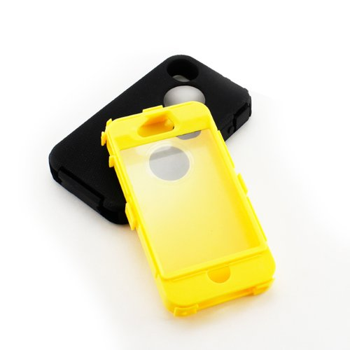 GEARONIC TM Black & Blue Three Layer Silicone PC Case Cover Compatible with iPhone 4 4G 4S