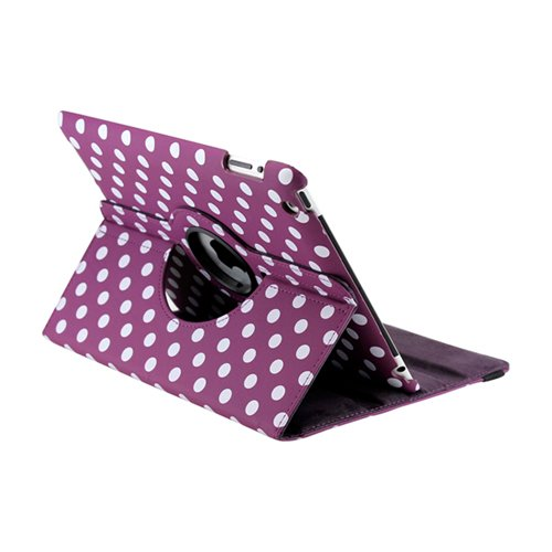 GEARONIC TM Purple White Polka Dot 360 Degree Rotating Stand Smart Cover PU Leather Swivel Case Apple iPad 4th Generation Retina Display/the iPad 3 / iPad 2 (Wake/sleep Function)