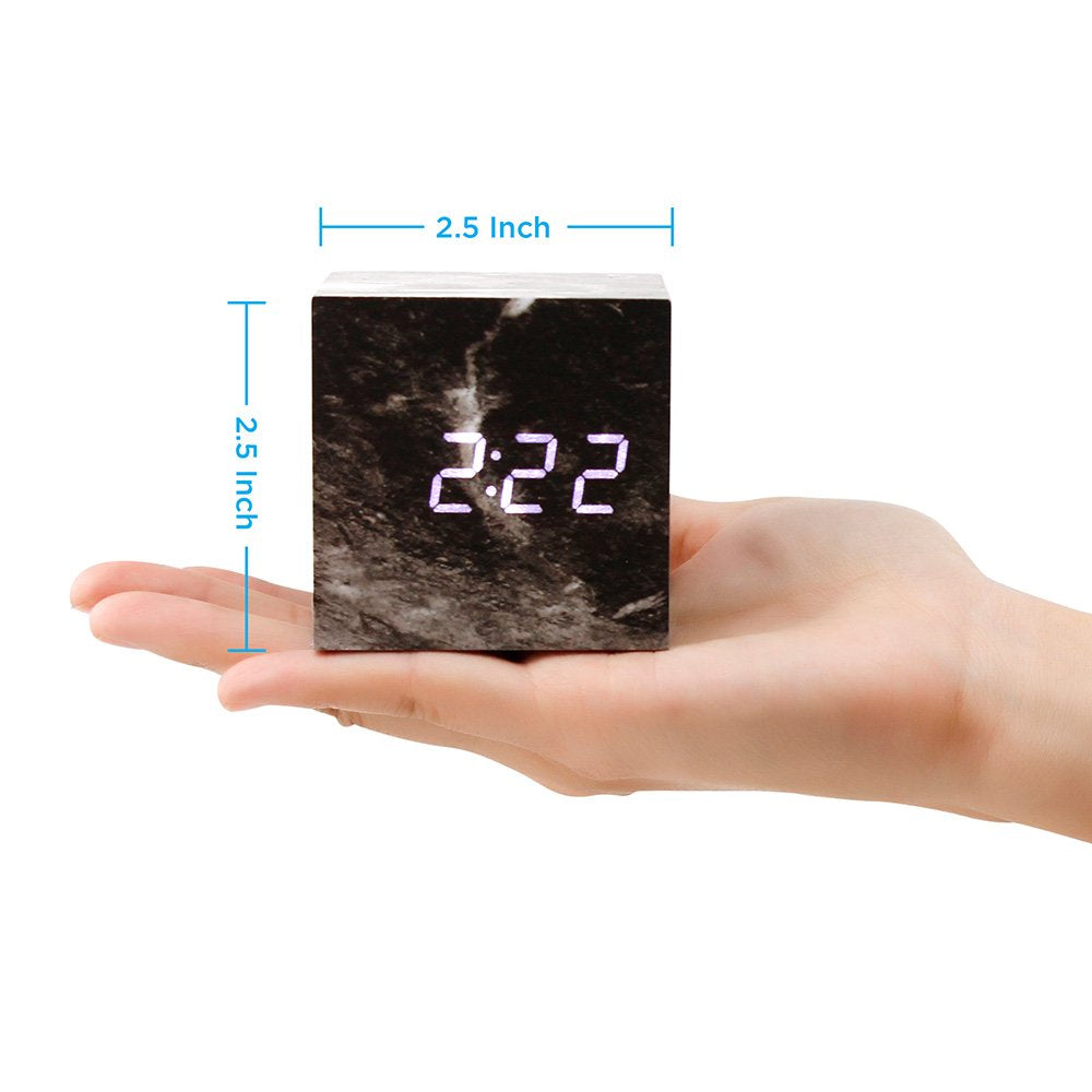 Oct17 Marble Pattern Alarm Clock, Fashion Multi-Function LED Table Desk Clock Cube with USB Power Supply, Voice Control, Timer, Thermometer