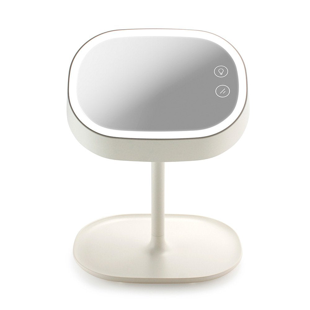 Oct17 Makeup Mirror Lighted Lamp LED Vanity Travel Portable Cordless Rechargeable Battery Powered Round Natural Light Touch Screen Desk With Under Organizer Storage 180 Adjustable Swivel