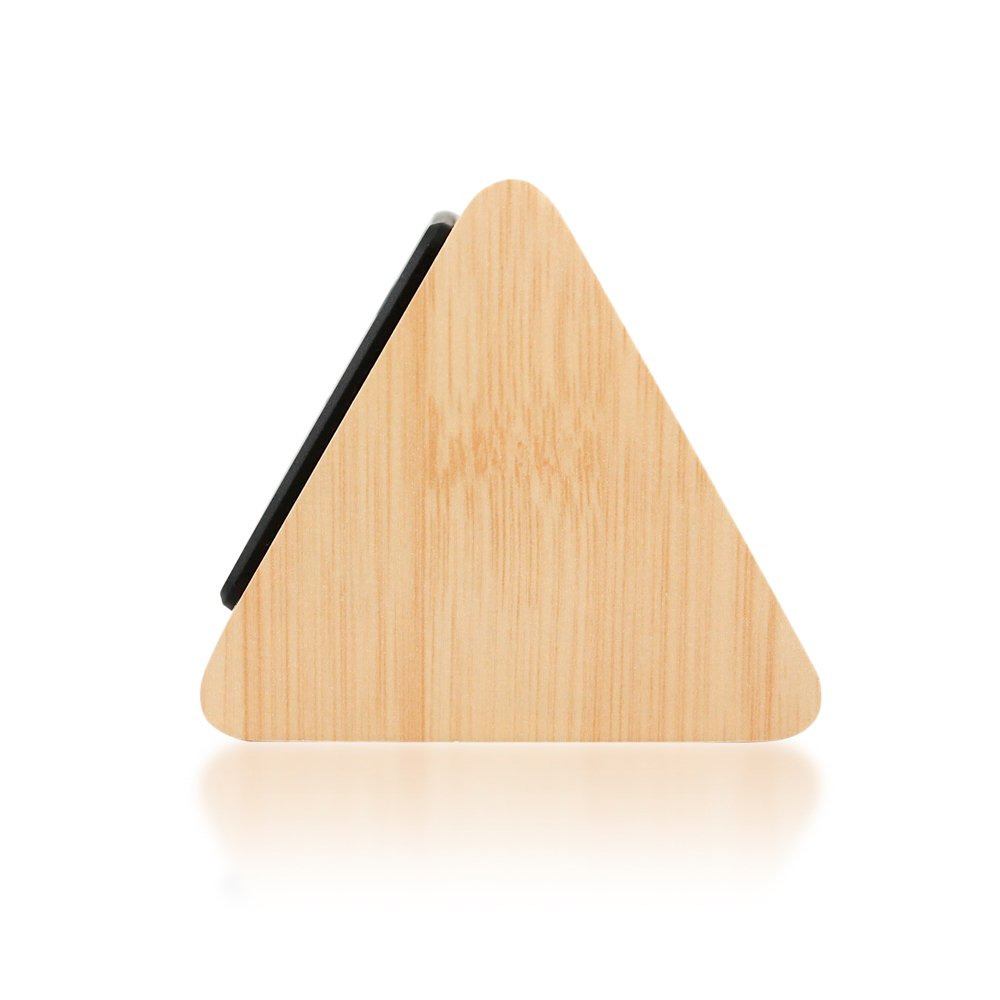 GEARONIC TM Modern Triangle Wood LED Wooden Alarm Digital Desk Clock Thermometer Classical Timer Calendar