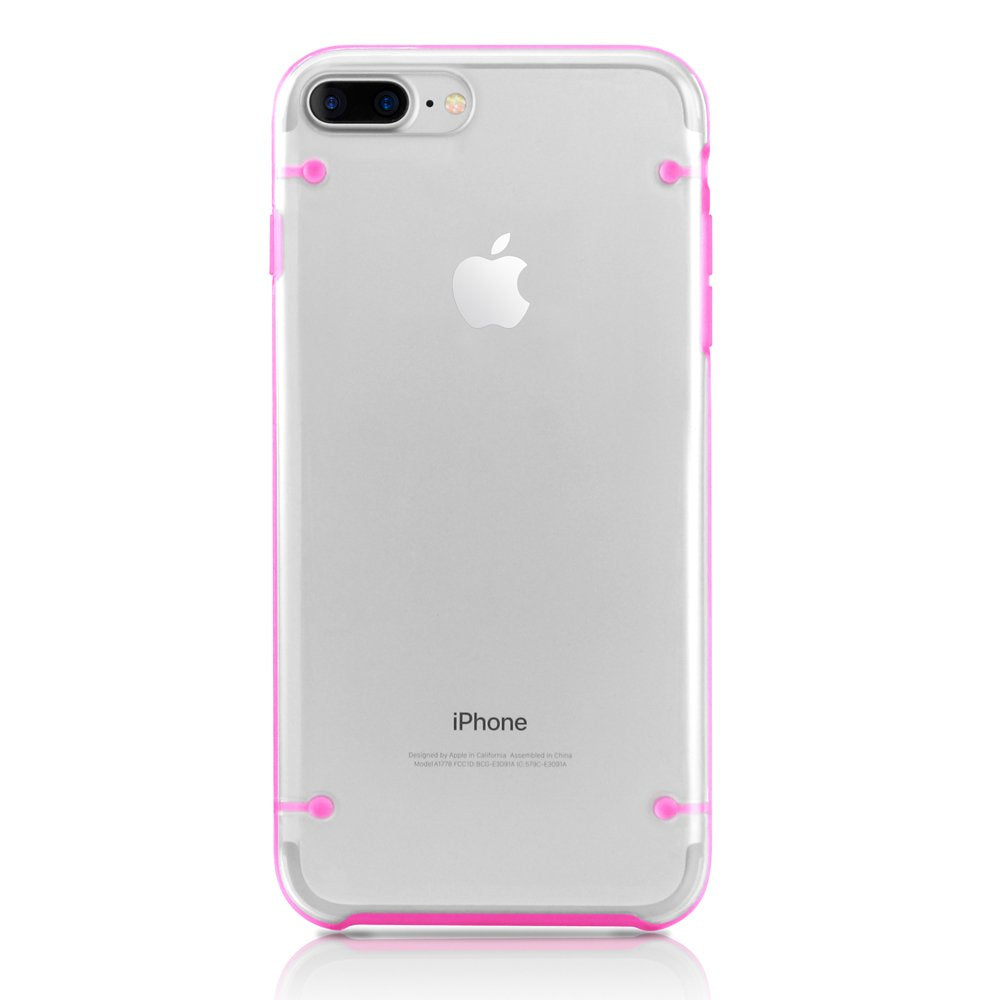 GEARONIC TM Ultra Slim Clear Cover Bumper Rubber Protective Shockproof Transparent Luminous Glow in The Dark Case Compatible with Apple iPhone 7 Plus - Hot Pink