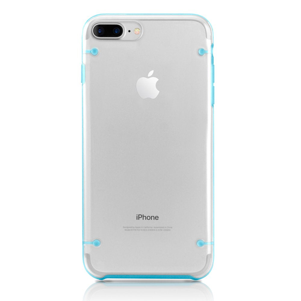 GEARONIC TM Compatible with Apple iPhone 8 Plus Case, Ultra Slim Fit Clear Cover Bumper Anti-Scratch Resistant Transparent Case - Blue