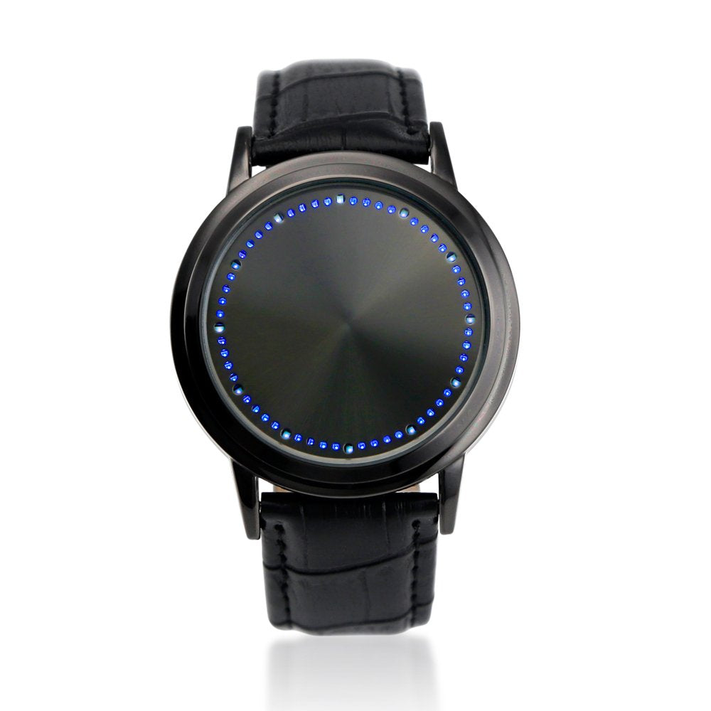 Oct17 Fashion Faux Leather Band Digital Touch Screen LED Wristwatch Unique Tree Wrist Watch Blue Light
