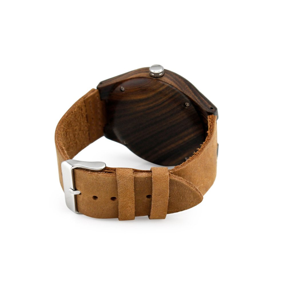 Oct17 Men's Walnut Wood Fashion Bamboo Wooden Watch Quartz Genuine Leather Japanese Analog Quartz Movement Casual Brown Wristwatches