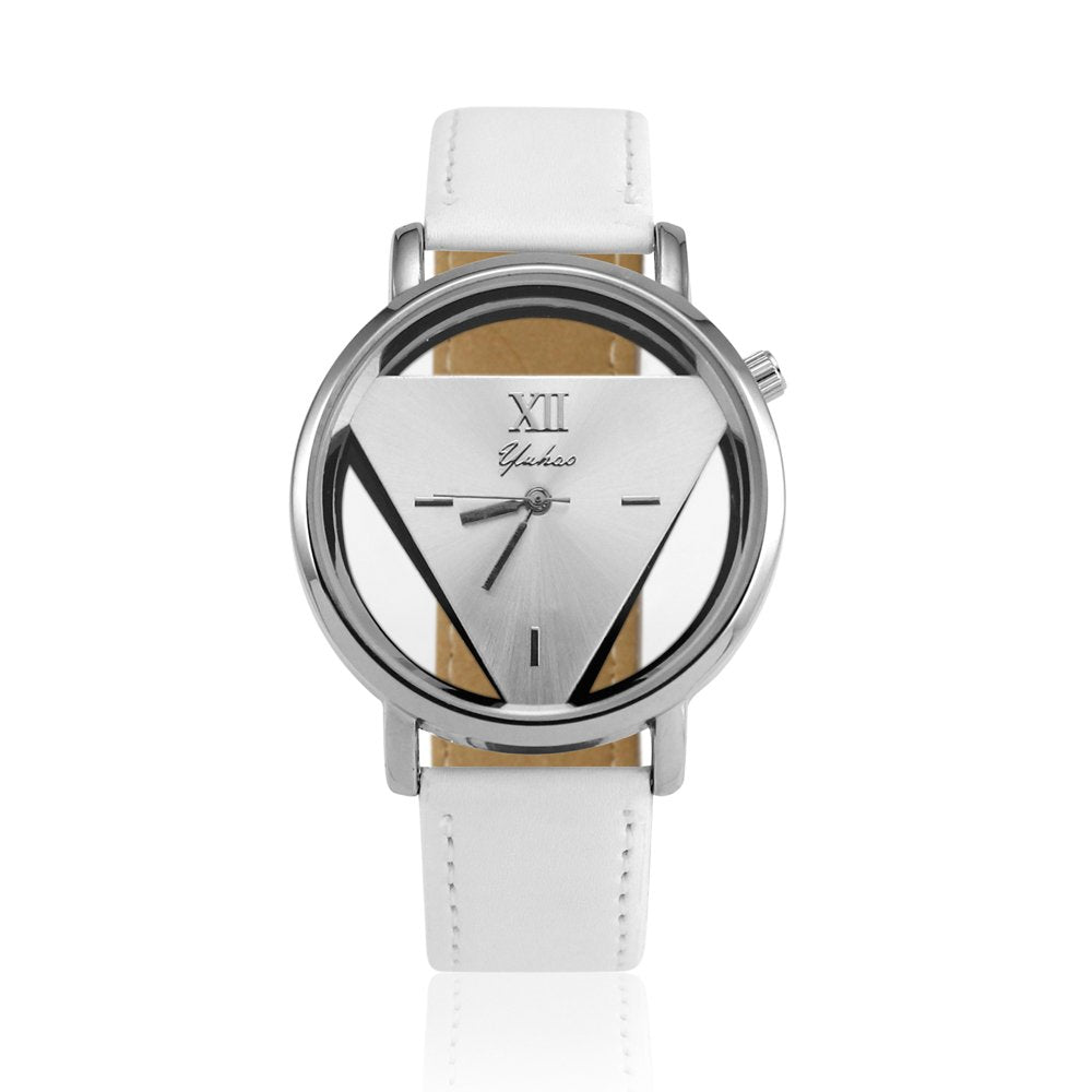 OCt17 Luxury Fashion Womens Mens Stainless Steel Faux Leather Band Quartz Analog Sport Wrist Watch