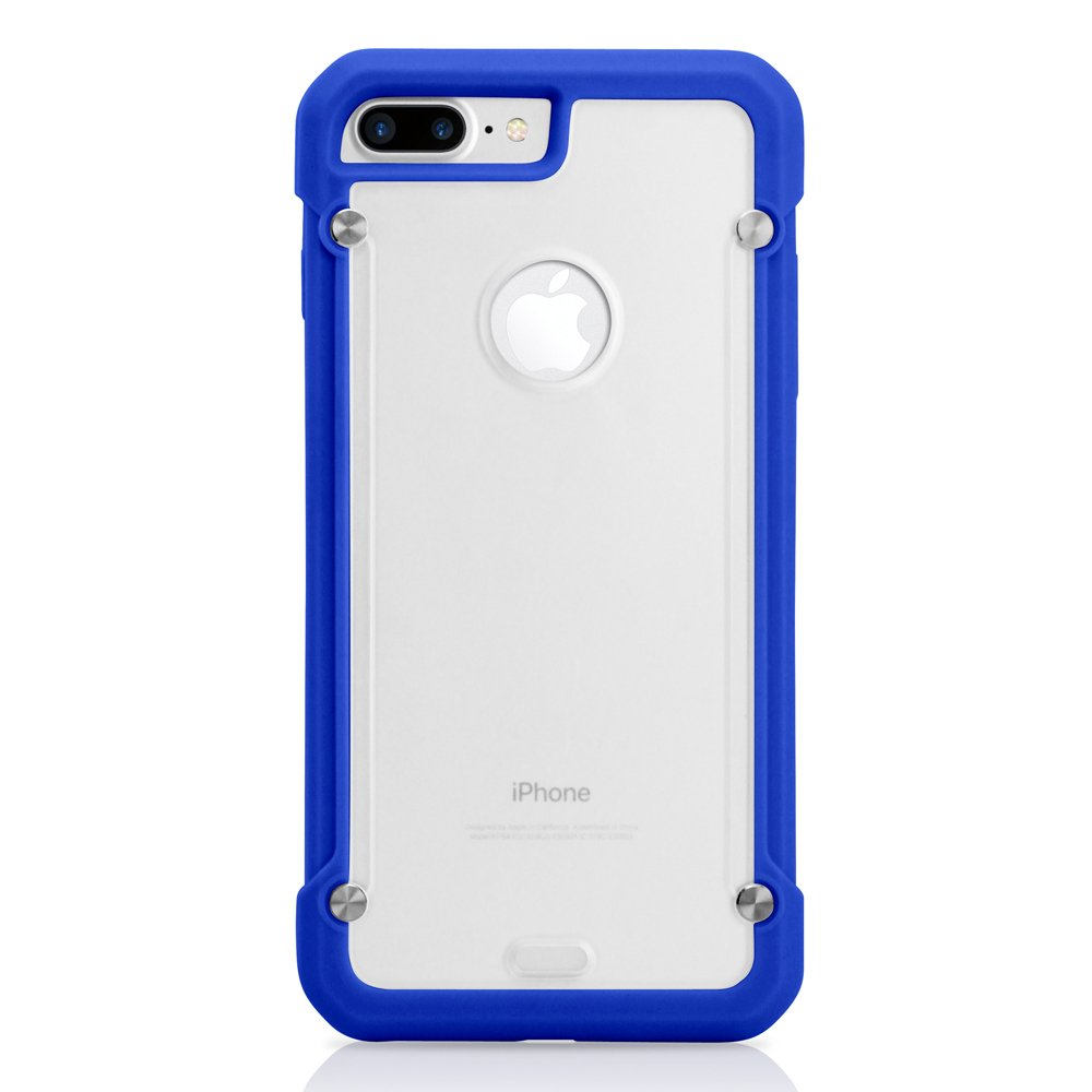 GEARONIC TM Shockproof Hybrid Rugged Bumper Protective TPU Hard PC Back Case Clear Cover Apple iPhone 7 Plus - Dark Blue