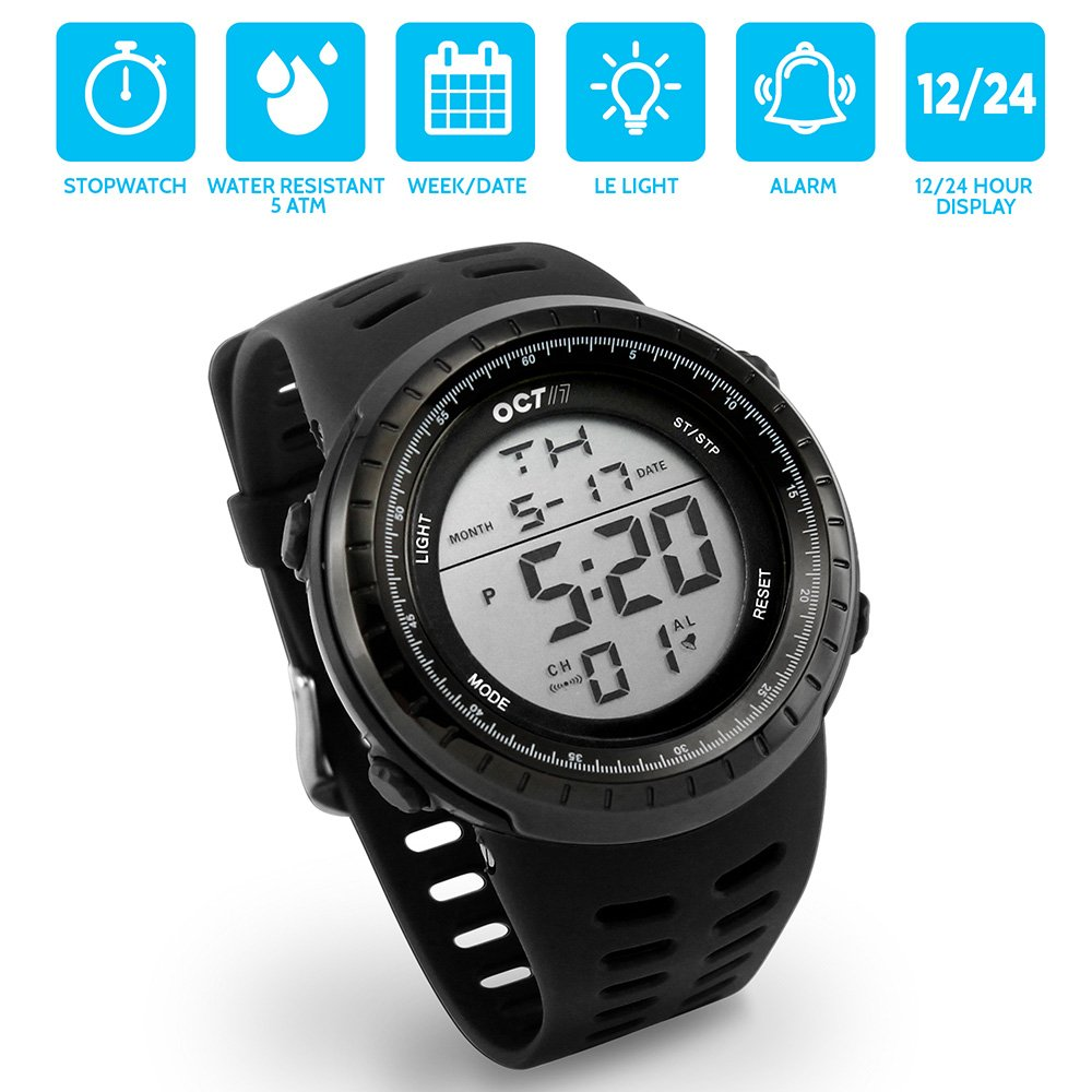 OCT17 Men's Mens Digital Sports Outdoor Watch Military Army Waterproof Fashion Casual Wristwatch Calendar Stopwatch Alarm LED Light