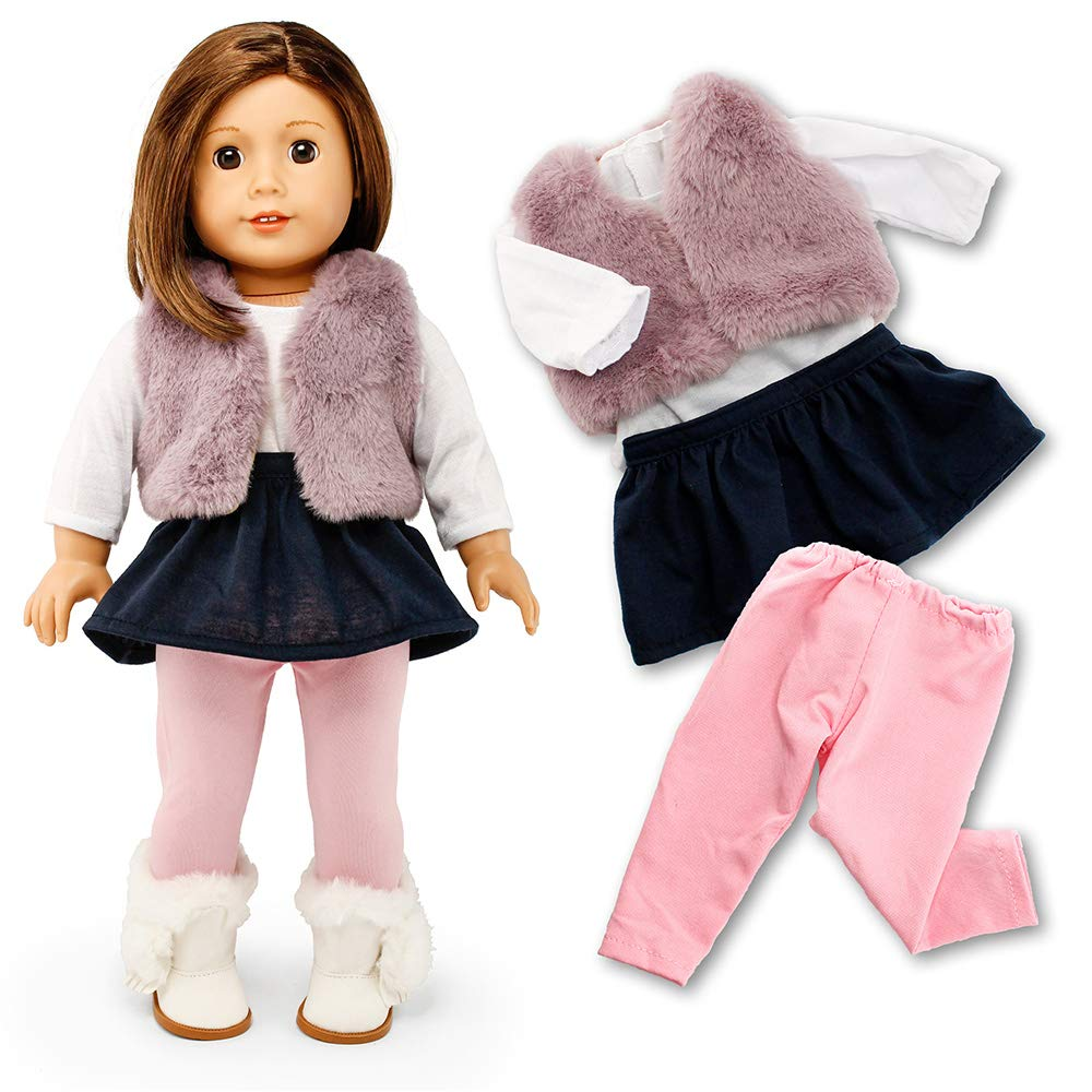 "Oct17 Doll Clothes for American Girl 18"" inch Dolls Wardrobe Makeover Outift Christmas Santa Casual Dress Boots Bundle"