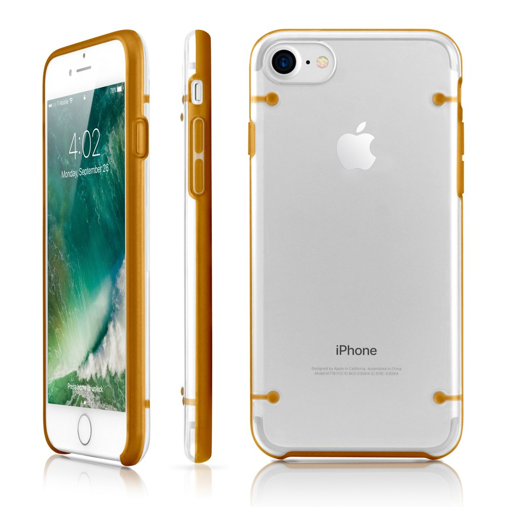 GEARONIC TM Compatible with Apple iPhone 8 Case, Ultra Slim Fit Clear Cover Bumper Anti-Scratch Resistant Transparent Case - Gold
