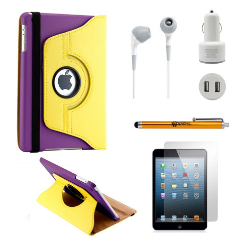GEARONIC TM iPad Mini/Mini Retina/Mini 3 case (released 2014) 5-in-1 Accessories Bundle Yellow and purple Rotating Case Business Travel Combo