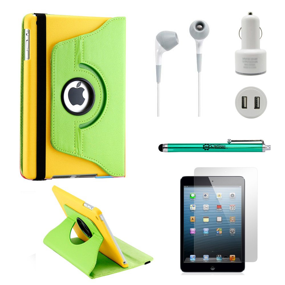 GEARONIC TM iPad Mini/Mini Retina/Mini 3 case (released 2014) 5-in-1 Accessories Bundle Green and yellow Rotating Case Business Travel Combo