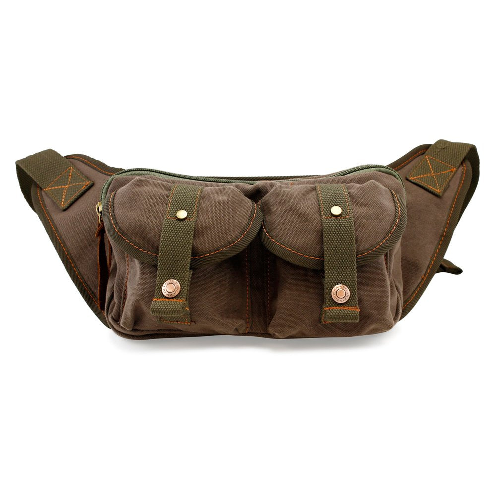 GEARONIC TM Men's Military Canvas Waist Leg Fanny Vintage Travel Waist Pack Messenger Hiking Bag Wallet