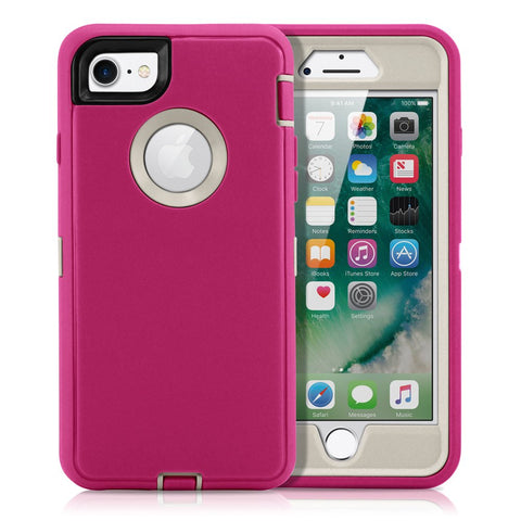 GEARONIC TM Compatible with Apple iPhone 8 Case, Heavy Duty Protection Shock Absorption Complete Protection Protective Hard Case Cover - Pink