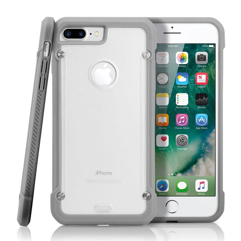 GEARONIC TM Shockproof Hybrid Rugged Bumper Protective TPU Hard PC Back Case Clear Cover Apple iPhone 7 Plus - Gray