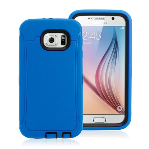 GEARONIC TM Hybrid Rubber Shockproof Protective Heavy Duty Hard PC+Silicone Case Cover Skin Samsung Galaxy S6 - Blue
