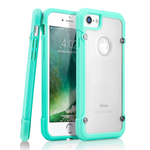 GEARONIC TM Shock Absorption Bumper Shockproof Rugged Protective TPU Hard PC Back Case Clear Cover Compatible with iPhone 8 - Light Blue