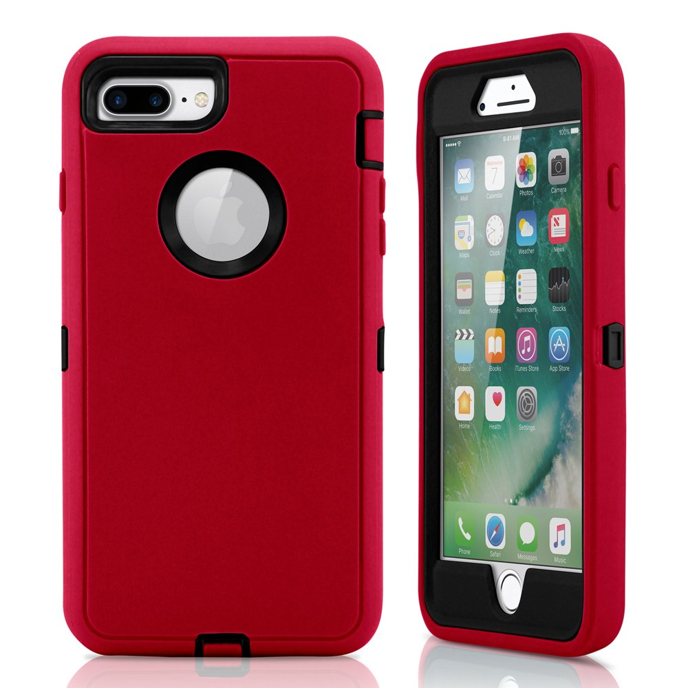GEARONIC TM Premium Rugged Complete Protection PC Silicone Shockproof Protective Hybrid Hard Case Cover Compatible with iPhone 7 Plus - Red