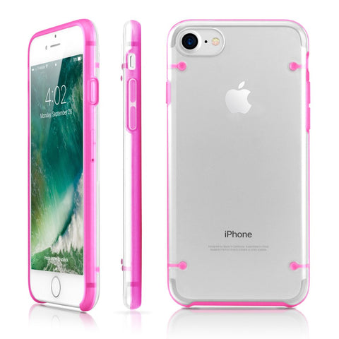 GEARONIC TM Ultra Slim Clear Cover Bumper Rubber Protective Shockproof Transparent Luminous Glow in The Dark Case Compatible with Apple iPhone 7 - Hot Pink
