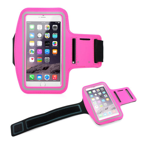 "Premium Running Jogging Sports Workout Gym Armband Sportband Pouch Case Cover Holder Compatible with iPhone 6 Plus 5.5"" - Hot Pink"