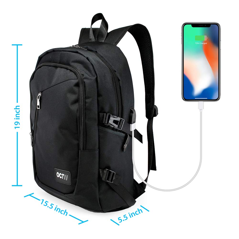 "Oct17 Business Laptop Backpack, Slim Anti Theft Computer Bag, Water-Resistent College School Backpack Headphone Port, Travel Shoulder Bag USB Charging Port Fits Under 17"" Laptop & Notebook"