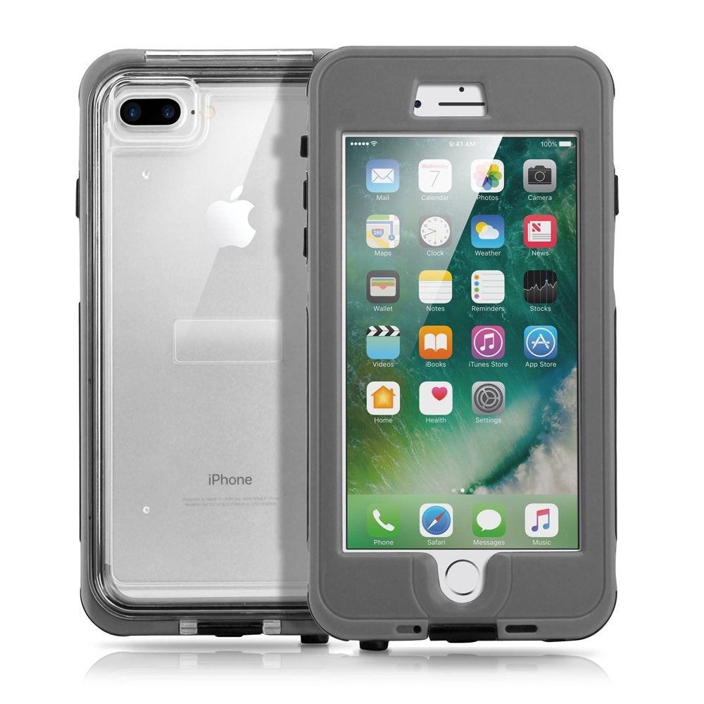 GEARONIC TM Durable Swimming Waterproof Shockproof Dirt Snow Proof Case Compatible with Apple iPhone 7 Plus - Gray