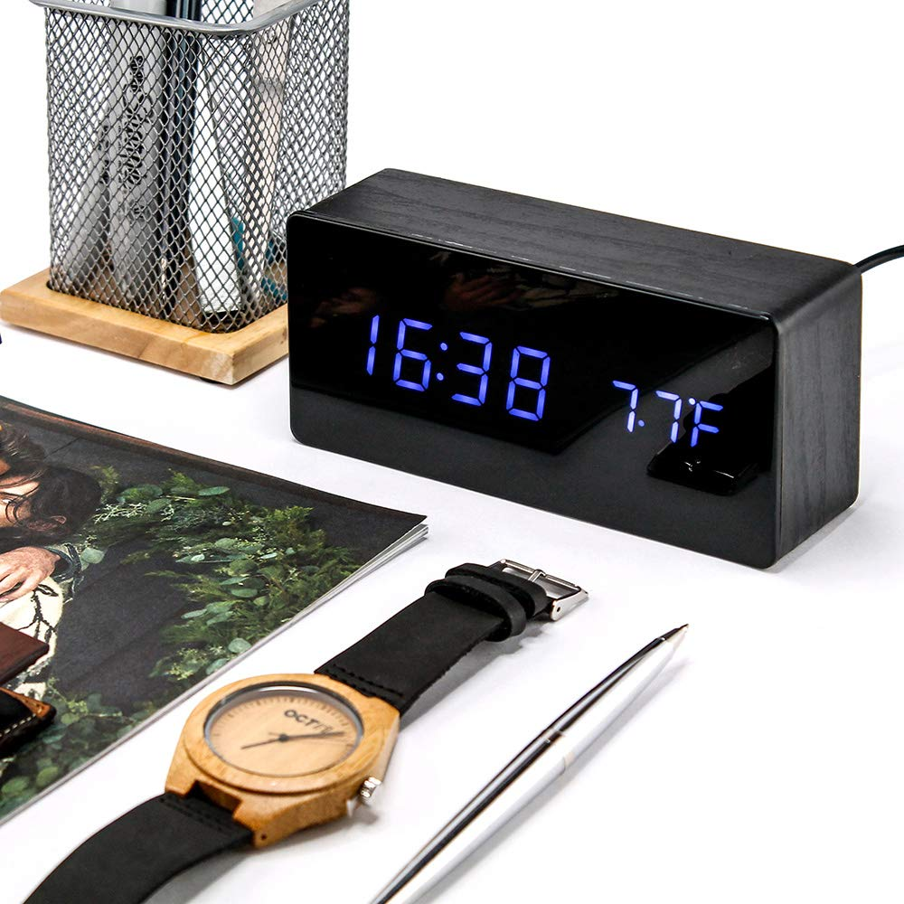 Oct17 Wooden Alarm Clock Mirror Screen Digital Adjustable Digital Clocks LED Voice Control Display Time Date Wood Modern Office Home