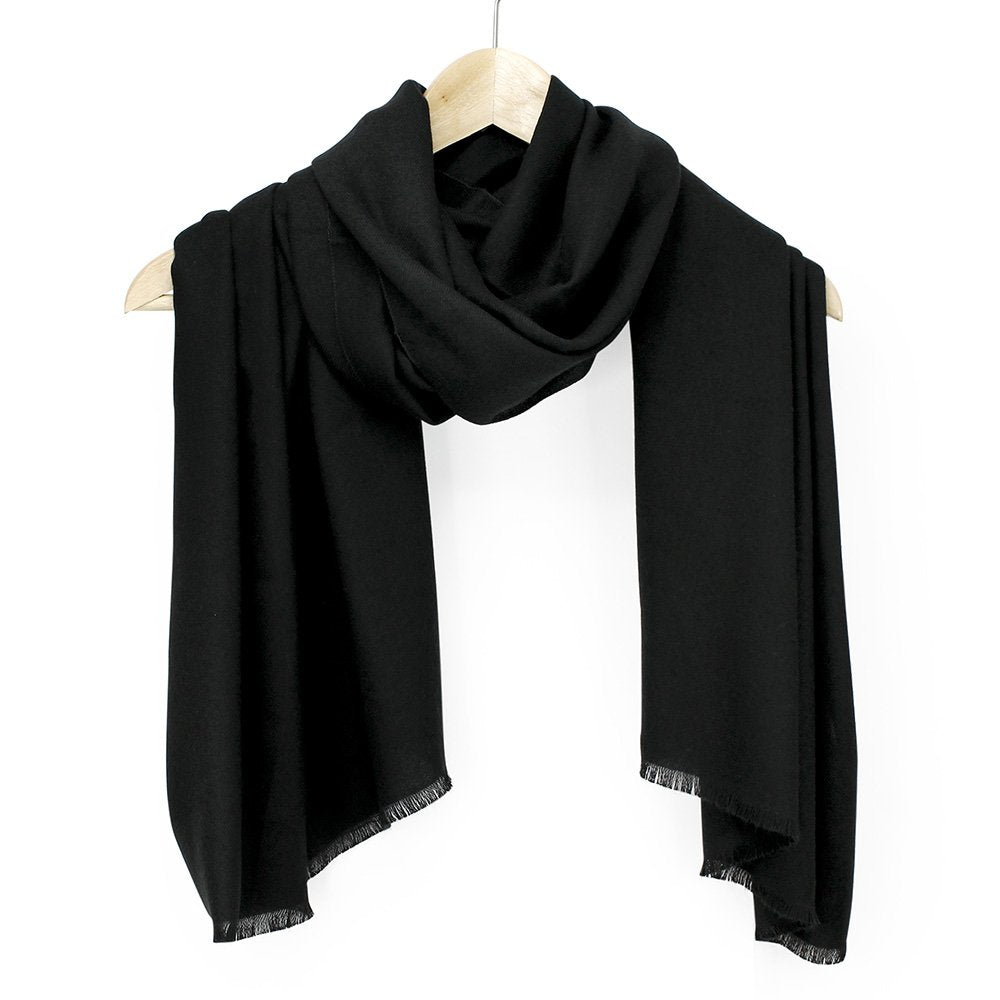 Oct17 Women Large Scarf Soft Cashmere Feel Pashmina Warm Shawls Wraps Winter Fall Scarfs Solid Color Light Weight Scarves - Black