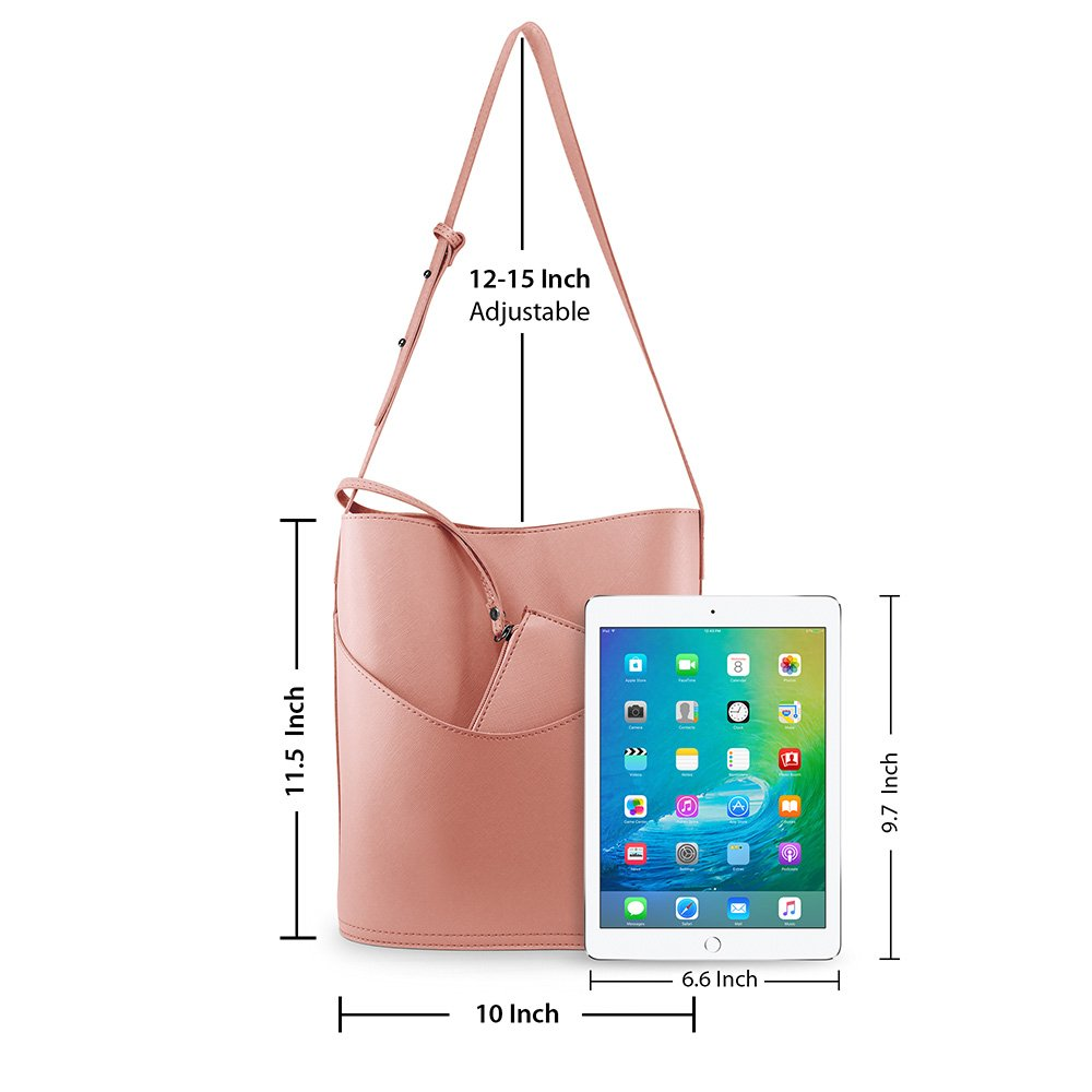 Oct17 Women Tote Bucket Bag, Faux Leather Shoulder Handbag, Fashion Ladies Purse Top Handle Satchel Crossbody Bags