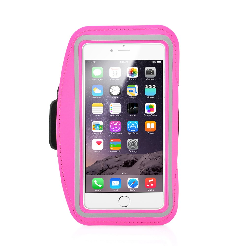 GEARONIC TM Premium Running Jogging Sports Workout Gym Armband Sportband Pouch Case Cover Holder Compatible with iPhone 6 Plus 5.5 with Free Tempered Glass Screen Guard - Hot Pink