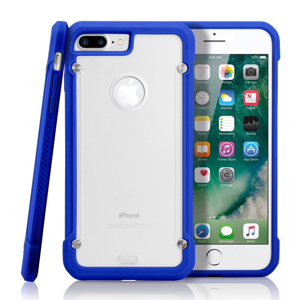 GEARONIC TM Apple iPhone 8 Plus Case, Shock Absorption Bumper Shockproof Rugged Protective TPU Hard PC Back Case Clear Cover - Dark Blue