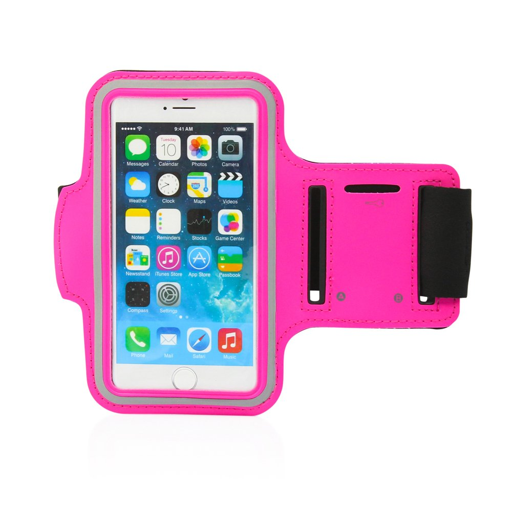 GEARONIC TM Premium Full Running Jogging Sports Gym Armband Case Cover Holder Compatible with Apple iPhone 6 with Free Tempered Glass Screen Guard - Hot Pink