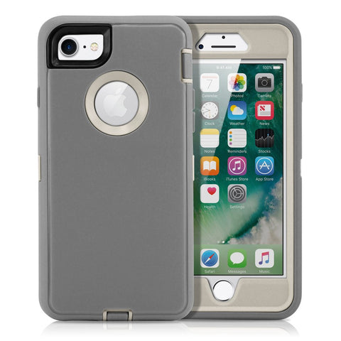 GEARONIC TM Premium Rugged Complete Protection PC Silicone Shockproof Protective Hybrid Hard Case Cover Compatible with iPhone 7 - Gray