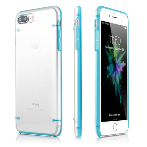 GEARONIC TM Ultra Slim Clear Cover Bumper Rubber Protective Shockproof Transparent Luminous Glow in The Dark Case Compatible with Apple iPhone 7 Plus - Blue