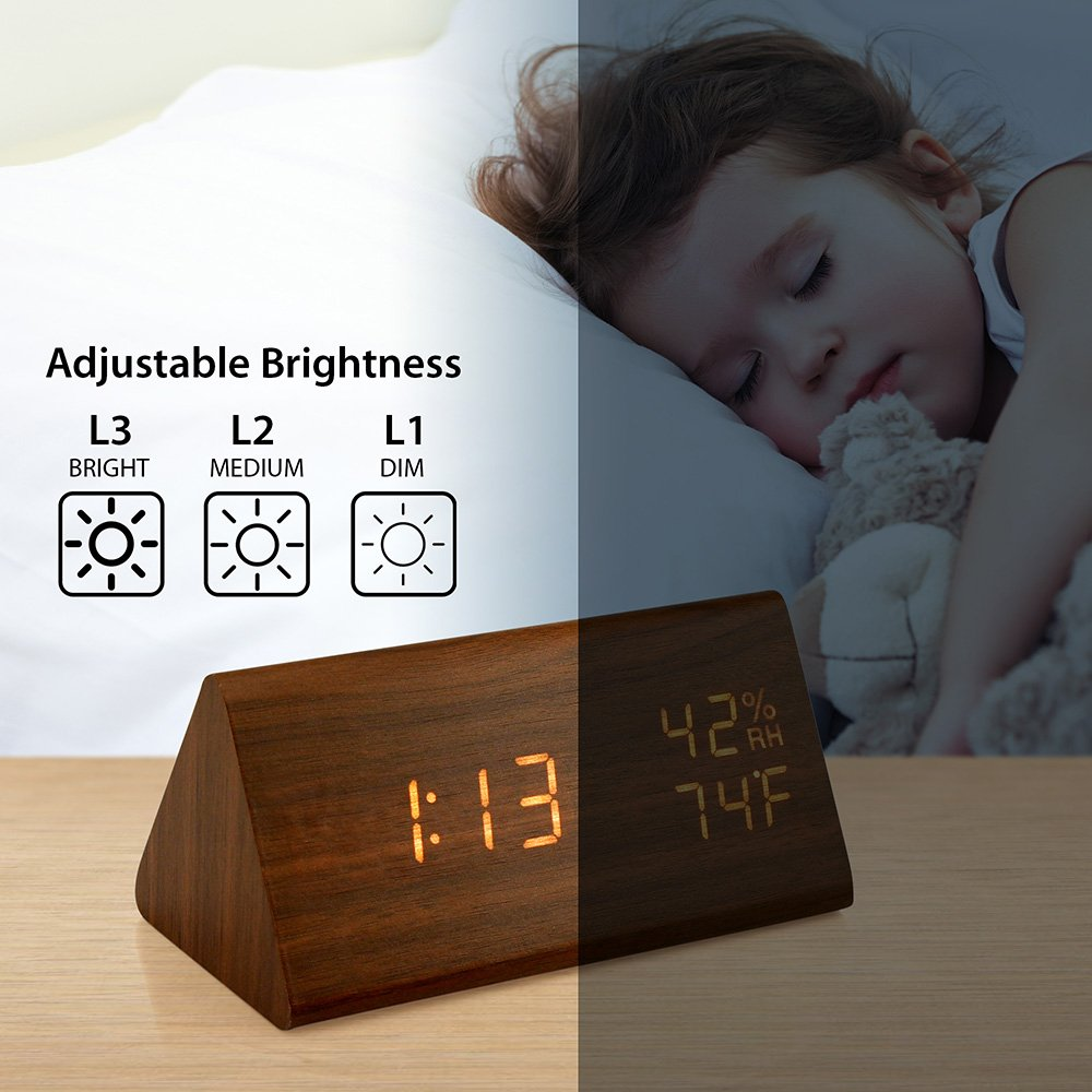 Oct17 Wooden Alarm Clock, Wood LED Digital Desk Clock, Upgraded 2018 Version with Time Temperature, Adjustable Brightness, 3 Set of Alarm and Voice Control, Humidity Displaying