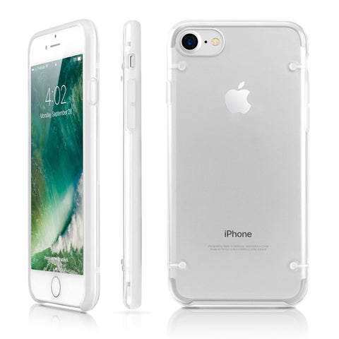 GEARONIC TM Ultra Slim Clear Cover Bumper Rubber Protective Shockproof Transparent Luminous Glow in The Dark Case Compatible with Apple iPhone 7 - White