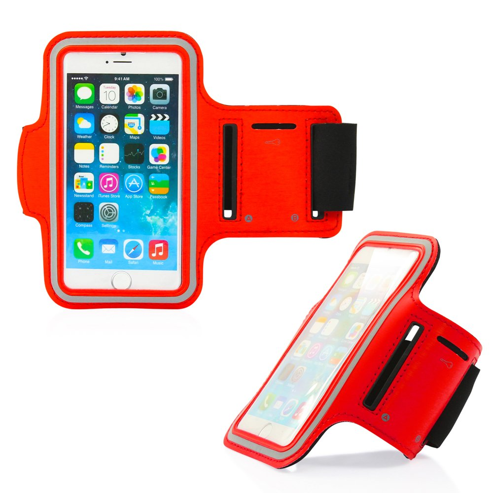 GEARONIC TM Premium Full Running Jogging Sports Gym Armband Case Cover Holder Compatible with iPhone 7 - Red