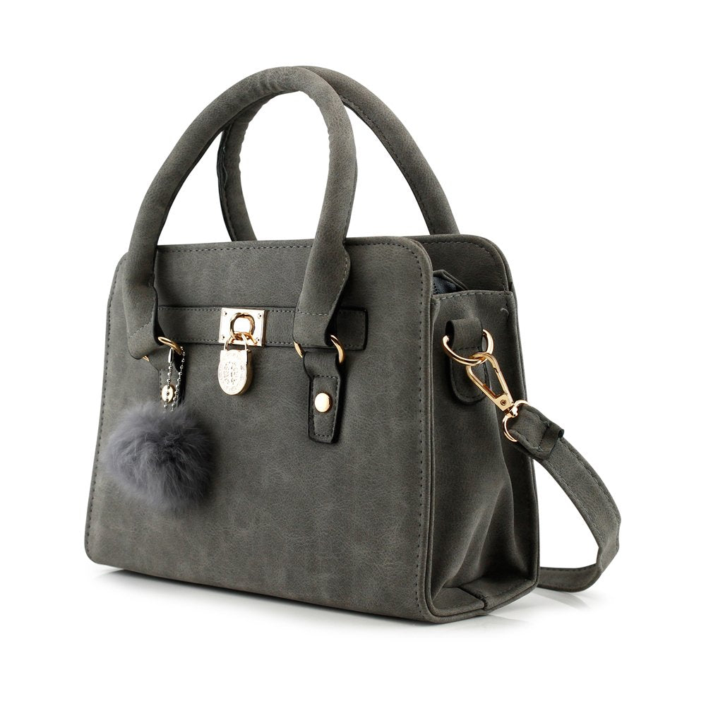 OCT 17 Lady Women Lock Faux Leather Tote Hobo Shoulder Bag Purse fur ball Satchel Fashion Luxury Handbag