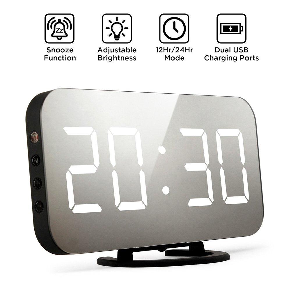 Oct17 Thin Mirror Surface Alarm Clock Digital Automatic dimming LED Light Display Time Date Modern Office Home