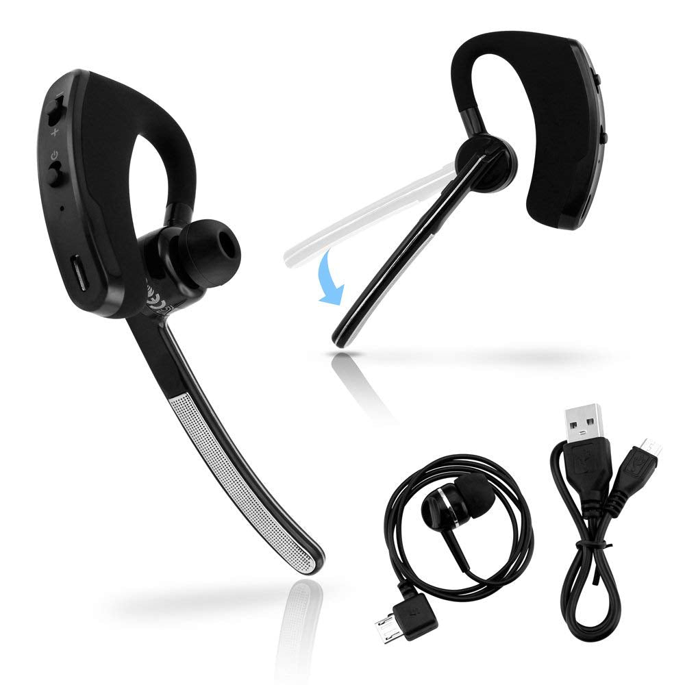 Oct17 Universal Bluetooth 4.0 Stereo Wireless Business Work Headset Handfree Earphone Compatible with iPhone Samsung HTC LG