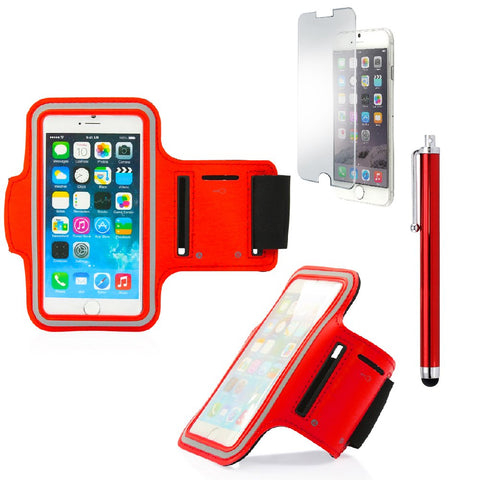 GEARONIC TM Premium Full Running Jogging Sports Gym Armband Case Cover Holder Compatible with Apple iPhone 6 with Free Tempered Glass Screen Guard - Red