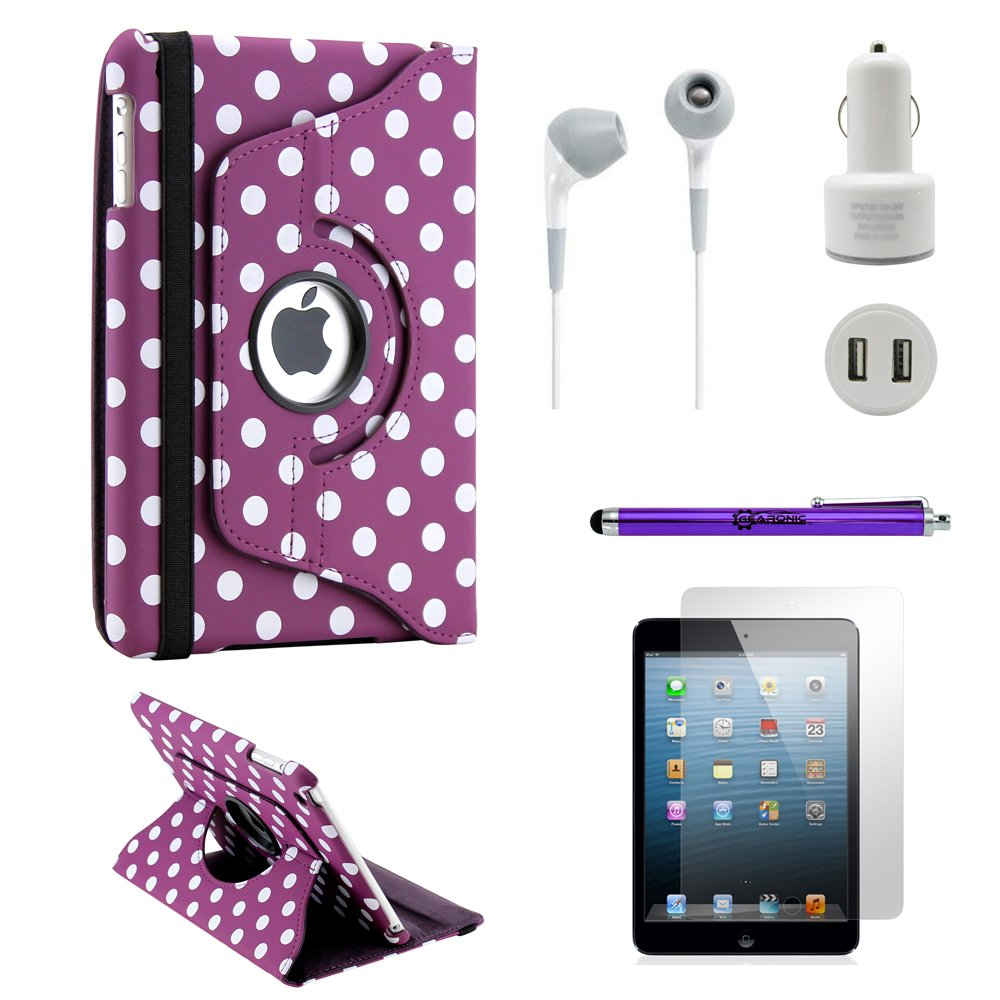 Gearonic iPad Mini 5-in-1 Accessories Bundle Purple PolkaDot Rotating Case Business Travel Combo