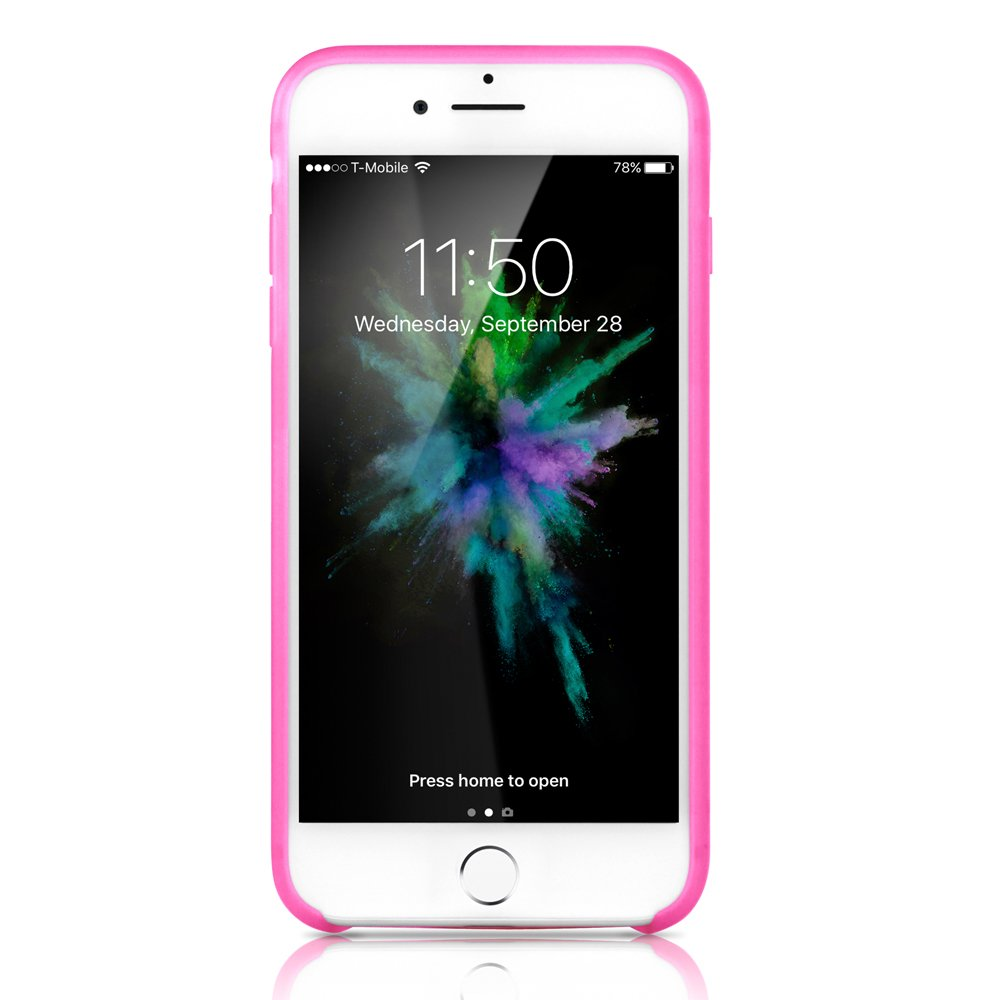 GEARONIC TM Compatible with Apple iPhone 8 Plus Case, Ultra Slim Fit Clear Cover Bumper Anti-Scratch Resistant Transparent Case - Hot Pink
