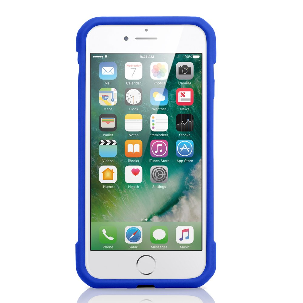 GEARONIC TM for Apple iPhone 8 Case, Shock Absorption Bumper Shockproof Rugged Protective TPU Hard PC Back Case Clear Cover Compatible with Apple iPhone 8 - Dark Blue