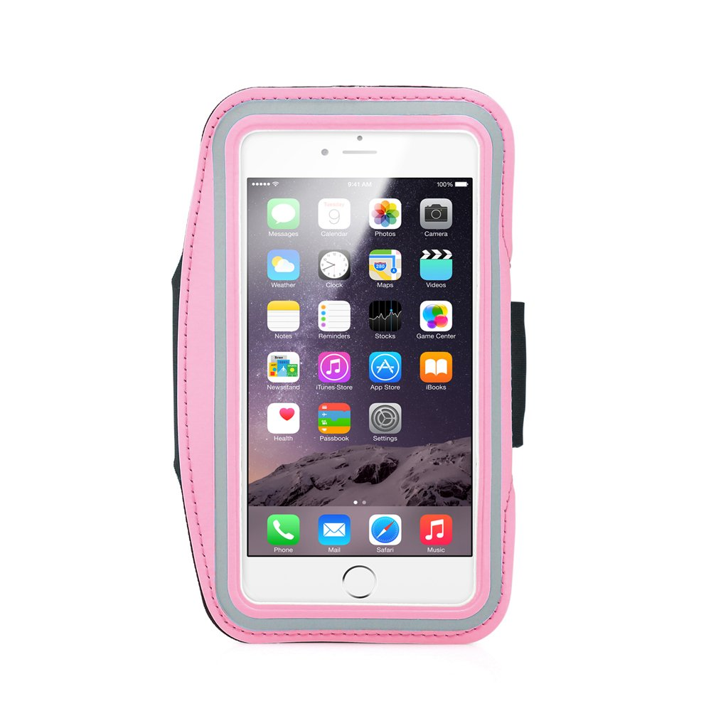 GEARONIC TM Premium Running Jogging Sports Workout Gym Armband Sportband Pouch Case Cover Holder Compatible with iPhone 6 Plus 5.5 with Free Tempered Glass Screen Guard - Pink
