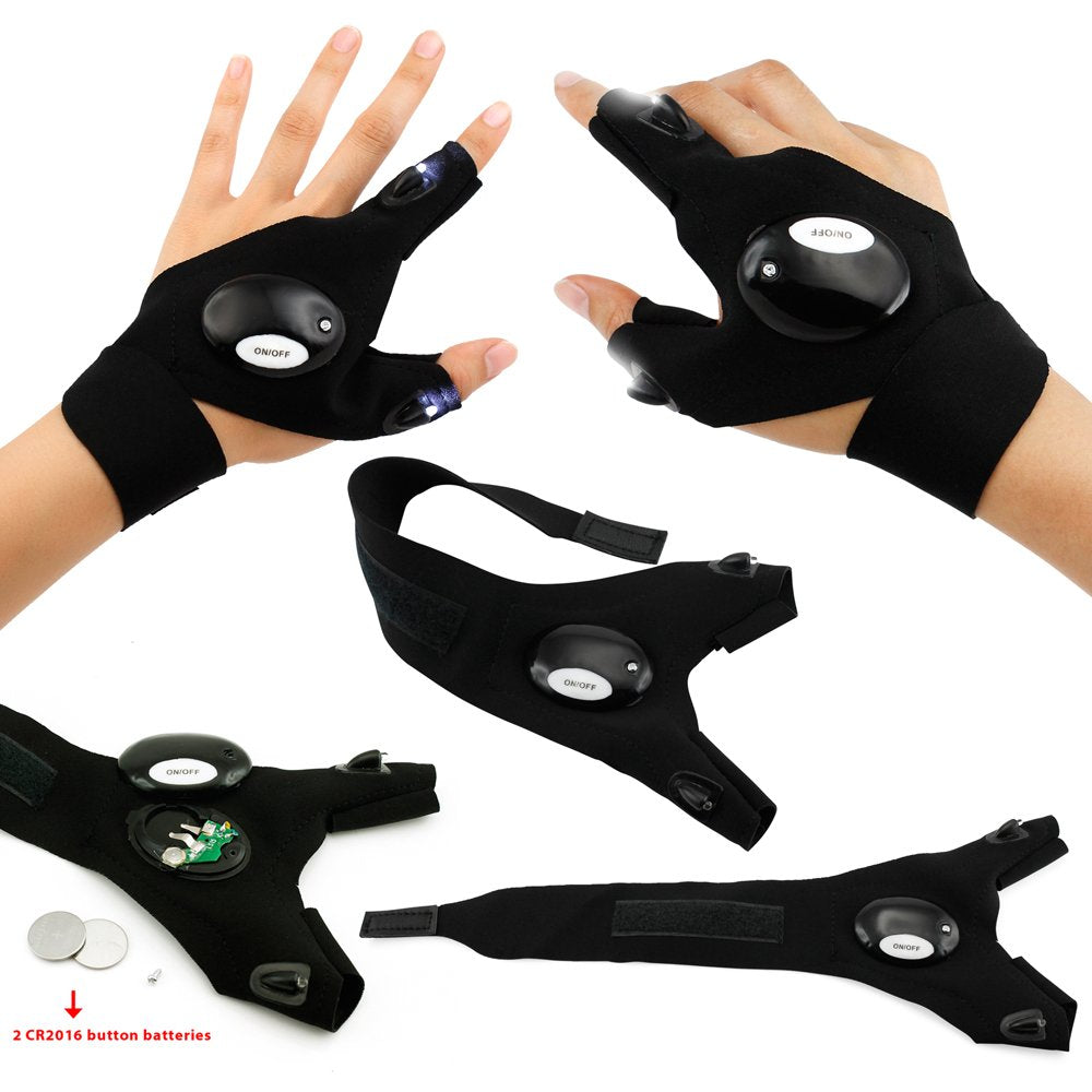 Oct17 LED Flashlight Cycling Gloves, 2 LED Flashlight Torch Magic Strap Glove, for Repairing and Working, Outdoor Activities, Rescue, Sporting, Fishing, Camping, Hiking, Handy Mechanic Tool