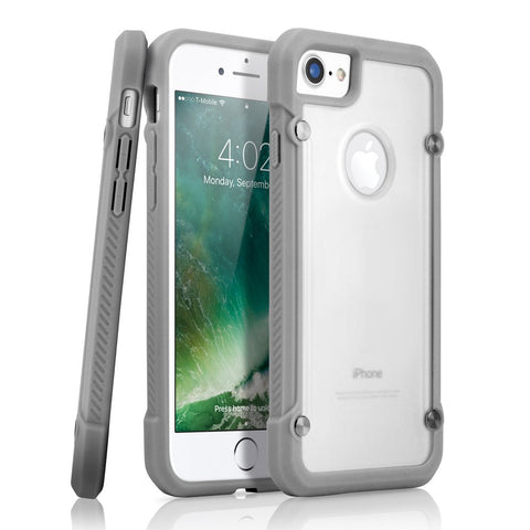 GEARONIC TM Shockproof Hybrid Rugged Bumper Protective TPU Hard PC Back Case Clear Cover for Apple iPhone 7 - Gray